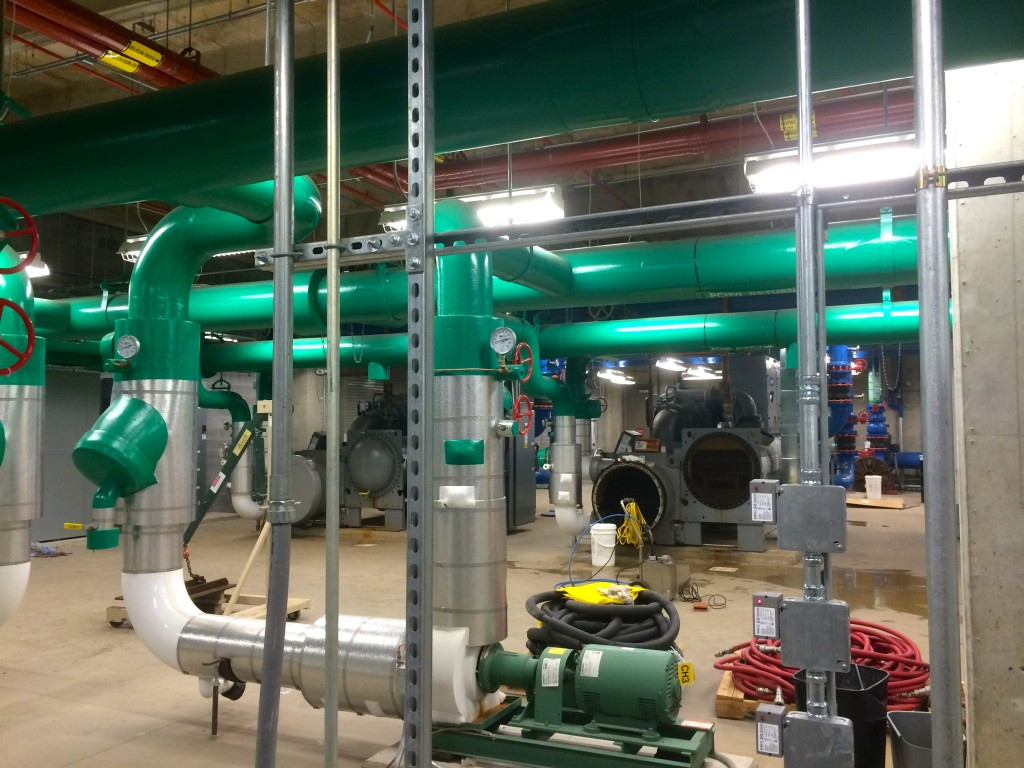 This room of green, Super Mario style pipes is the heart of the chilled water cooling system. The Data Center also has a massive, underground water tank in case the city water line were to be cut.
